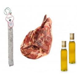 Pack Olio d'oliva Extra + Salchichon VELA + Prosciutto Serrano