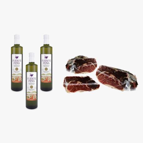 Pack 3 bottiglie di olio extra vergine di oliva + Spalla Cruda Etichetta Verde